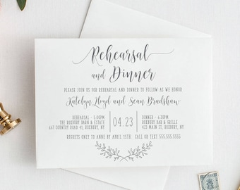 Rustic Elegance Rehearsal Invitation, Printable or Printed Pre Wedding Party Rehearsal Dinner Invitation, Simple Rustic Rehearsal, RC18002