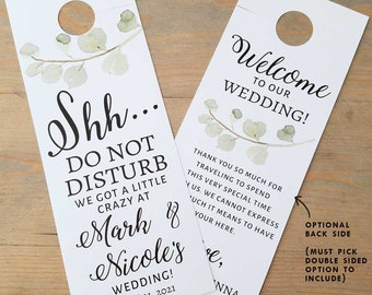 Fall leaf accommodations hotel door hanger for wedding guests