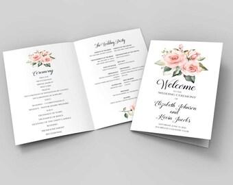 Blush Wedding Program Booklet Template Pink Wedding Printable Etsy