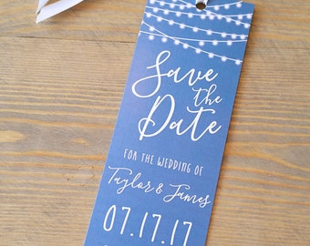 Twinkle Lights Save the Date Bookmark, String Lights Save the Date, Bookmark save the date, sparkle, glowing lights, fairy lights,