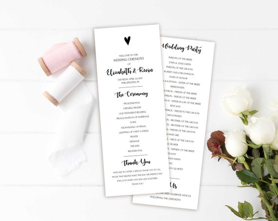 simple wedding programs template printable wedding program etsy