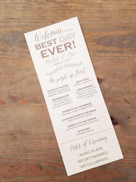 best day ever wedding day program wedding program ceremony etsy