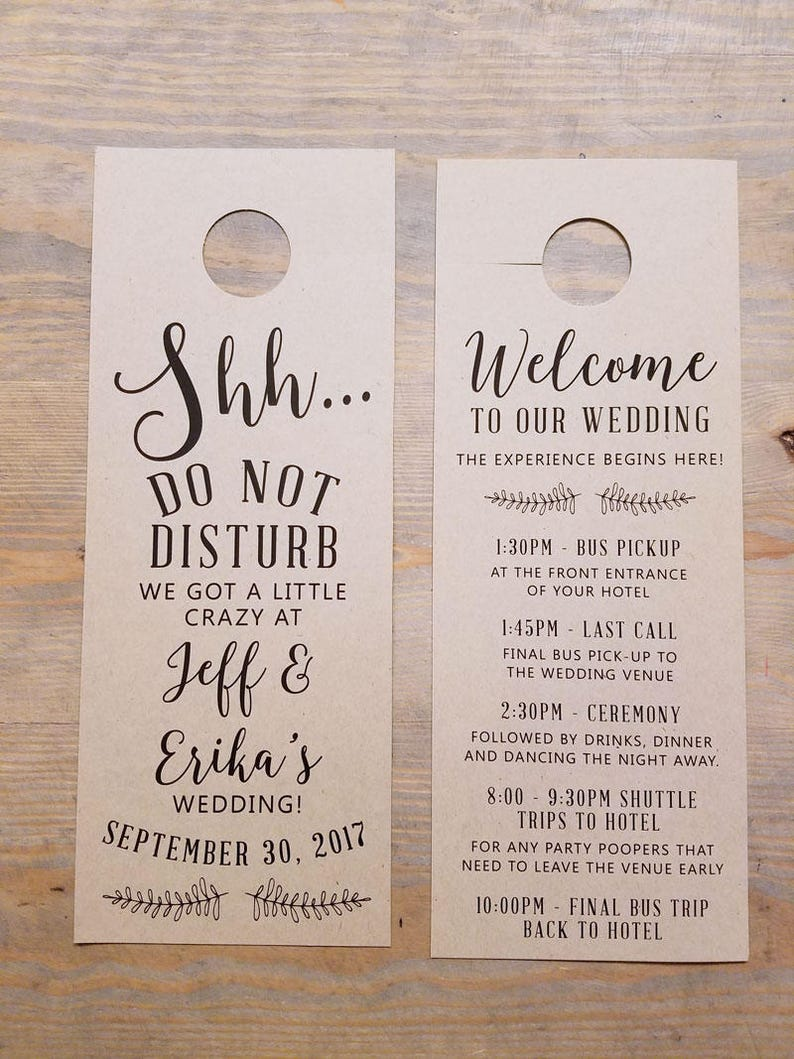 9cc75ff9878747 Do not disturb wedding door hangers wedding itinerary