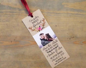 Bookmark Save the Date Antlers, Rustic Save the Date Bookmark, Literary Wedding Save the Date, Save the Date, Kraft, Rustic, Deer Antlers