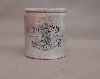 LARGER SZ English Advertising crock jar with great graphics typogrophy monogram sainsburys meat paste england ironstone black white transfer