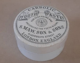English advertising pot black transferware TOOTH PASTE jar paste pot lid ironstone stoneware Carbolic London England S. Maw and Sons