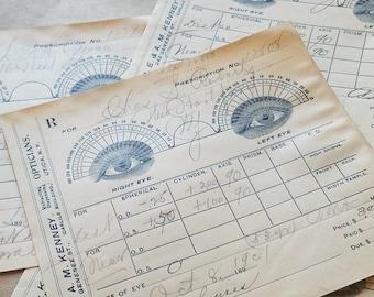 OPTICAL PRESCRIPTION 1901 antique vtg paper ephemera blue and white eyeglasses measurement chart with calligraphy utica, ny