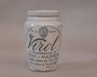 antique english advertising marmalade pot crock jar VIROL BoNE-MARROW black and white typography ironstone jar mark england