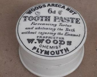 English advertising pot black transferware tooth paste jar paste pot lid and base white ironstone stoneware Wood's areca nut chemist crock