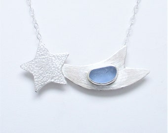 Sea Glass Jewelry - Sterling Blue English Sea Glass Shooting Star Necklace