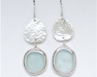 Sea Glass Jewelry - Sterling Pale Blue Sea Glass Earrings