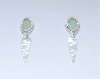Sea Glass Jewelry - Sterling Pale Green Sea Glass Post Earrings