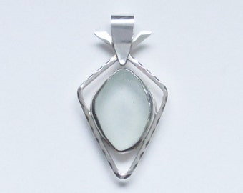 Sea Glass Jewelry - Sterling Pale Seafoam Sea Glass Pendant