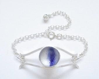 Sea Glass Jewelry - Sterling Blue Sea Glass Marble Bracelet