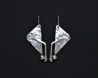 Sterling Silver Contemporary Abstract Earrings