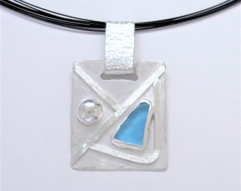 Sea Glass Jewelry - Sterling Turquoise Sea Glass Necklace