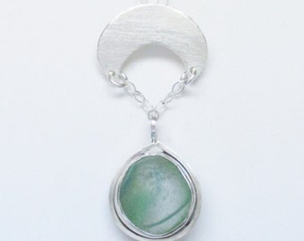 Sea Glass Jewelry - Sterling Sea Glass Marble Necklace