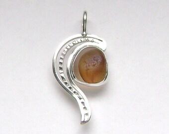 SALE!!!  Sea Glass Jewelry - Sterling Rare Victorian English Sea Glass Pendant