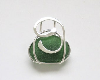 Sea Glass Jewelry - Sterling Caged Green Sea Glass Pendant