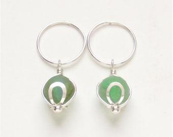 Sea Glass Jewelry - Sterling Sea Glass Marble Post Earrings