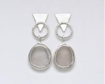 Sea Glass Jewelry - Sterling Pale Lavender Sea Glass Post Earrings
