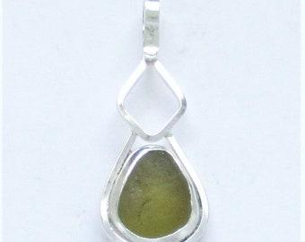 Sea Glass Jewelry - Sterling Olive Green Sea Glass Pendant