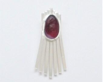 Sea Glass Jewelry - Sterling Rare Red Victorian English Sea Glass Pendant