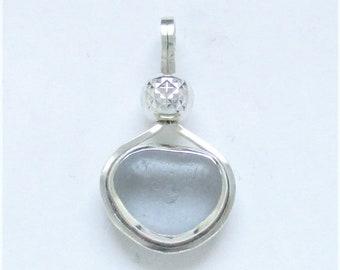 Sea Glass Jewelry - Sterling Rare Gray Sea Glass Pendant