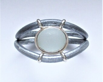 Sea Glass Jewelry - Sterling Rare Gray Sea Glass Bracelet