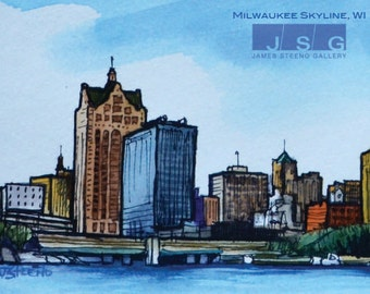 milwaukee skyline etsy