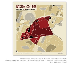 Boston college map | Etsy