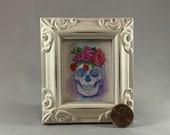 Sugar Skull Framed Miniature Watercolor Art Print by James Steeno Mini Art, Small Art, Tiny Art, Anatomy, Human Skull, Calavera