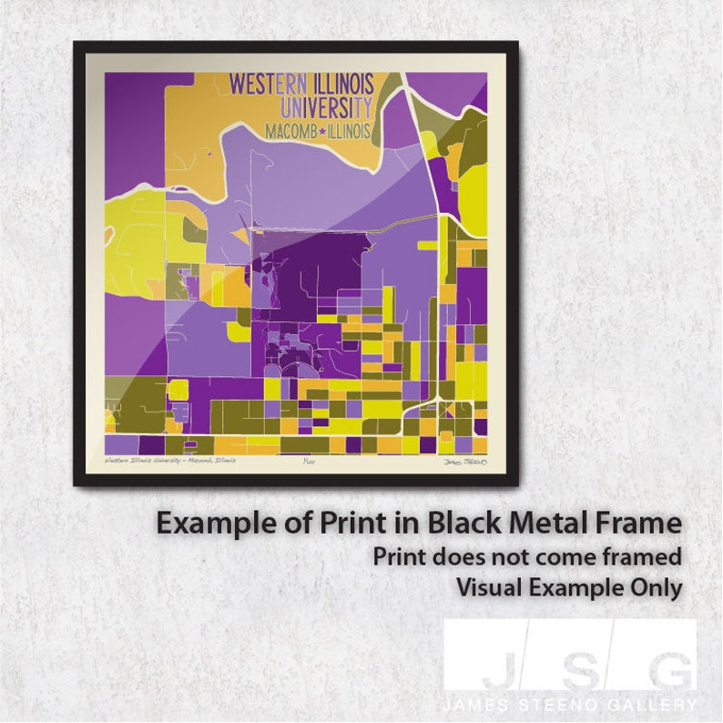 Western Illinois University – Macomb, Illinois Campus Art Map Print on wiu quad cities campus, wiu moline campus, wiu campus map, wiu campus recreation,