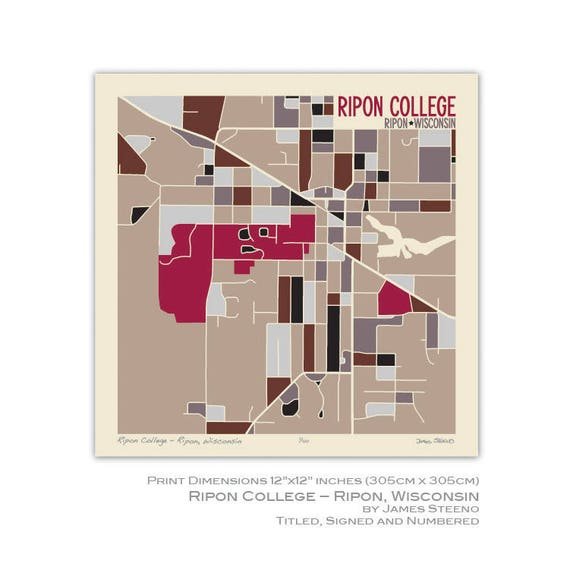 St Norbert College Campus Map.Ripon College Ripon Wisconsin Campus Art Map Print By James Etsy