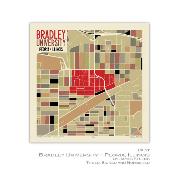 Bradley University Peoria Illinois Campus Art Map Print Etsy