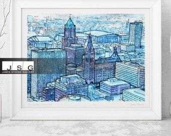 Snow Day Milwaukee Wisconsin Watercolor Art Print by James Steeno