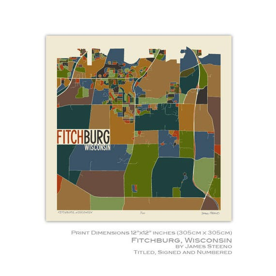 Fitchburg Wisconsin Art Map Print Dane County By James Etsy
