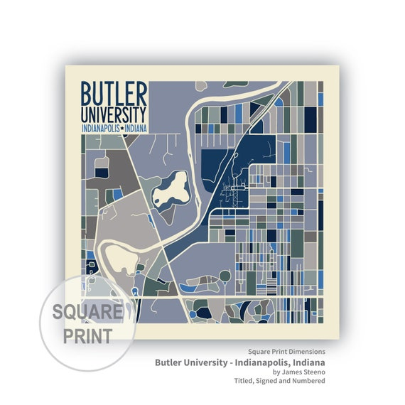 Butler University Campus Art Map Print (Indianapolis, Indiana) by James  Steeno