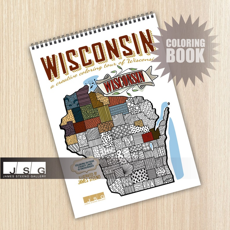 Wisconsin Themed Coloring Book Illustrated by James Steeno image 0