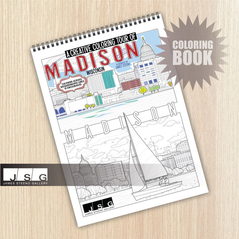 MADISON  Wisconsin Themed Coloring Book Illustrated by James image 0