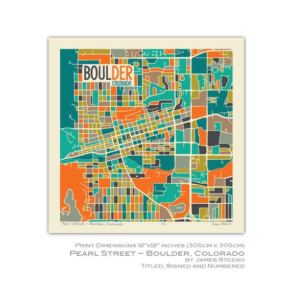 Pearl Street Boulder Colorado Art Map Print Boulder Etsy