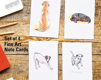 Canine Nation Watercolor Note Card Set of 4 by James Steeno Greeting Cards Thank You Blank Inside All Occassion Cards Dog Dogs Puppy