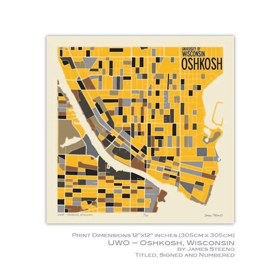 Oshkosh Campus Map.Uwo Oshkosh Wisconsin University Campus Art Map Print Etsy