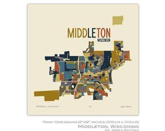 Middleton, Wisconsin Art Map Print (Dane County) by James Steeno
