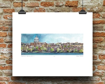 Madison Wisconsin Skyline No 2 (Lake Mendota View) Pen, Ink and Watercolor Art Print by James Steeno (Dane County)