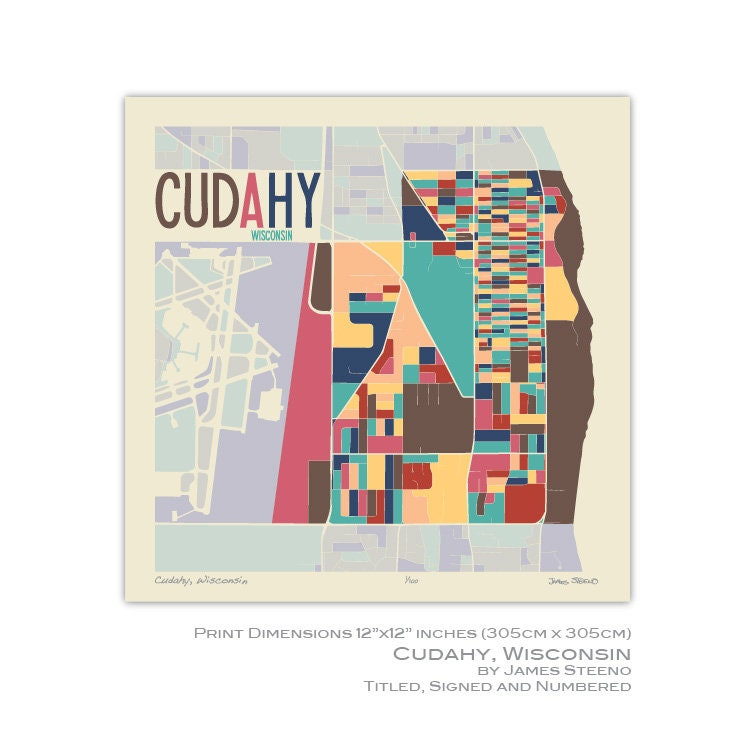 Cudahy Wisconsin Map.Cudahy Wisconsin Art Map Print Milwaukee County By James Etsy