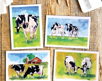 2 Cows Watercolor Note Card Set of 4 by James Steeno Fine Art Greeting Cards Thank You Blank Inside All Occassion Cards Farm Cow