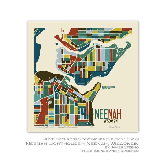 Neenah Lighthouse Neenah Wisconsin Art Map Print Winnebago Etsy