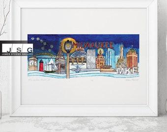 Milwaukee Wisconsin City Mash Up Watercolor Art Print by James Steeno