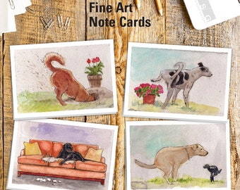 Naughty Dogs Watercolor Note Card Set of 4 by James Steeno Greeting Cards Thank You Blank Inside All Occassion Cards Canine Dog Puppy